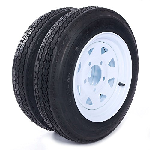 "Motorhot Trailer Tire + Rim 4.80-12 480-12 4.80 X 12 12"" 5 Lug White Wheel Spoke Mounted (5x4.5) bolt circle - 2 pcs"