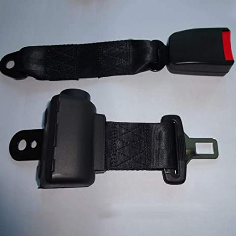 1x Black Polyester Retractable 2 Point Style Seat Safety Belt for Car Truck Bus