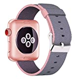 Yichan Woven Nylon Fabric Wrist Strap Replacement Band with Classic Square Stainless Steel Buckle for Apple Watch iWatch Series 1 / 2,Sport & Edition,38mm,Lightpink and Midnightblue