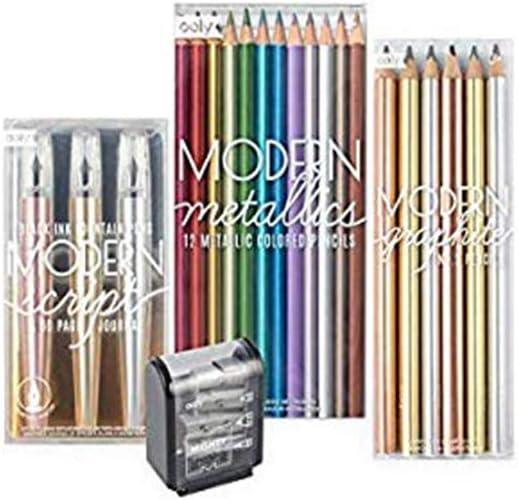 Ooly Happy Pack, lápices de colores + pluma estilográfica + lápices de grafito + sacapuntas - Mighty & Moderns paquete de regalo de escritura metálica: Amazon.es: Juguetes y juegos