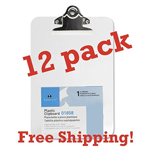 Value Pack of 12 Mini/Small Transparent Clipboard 6 x 9 inches by Sparco (Clear)