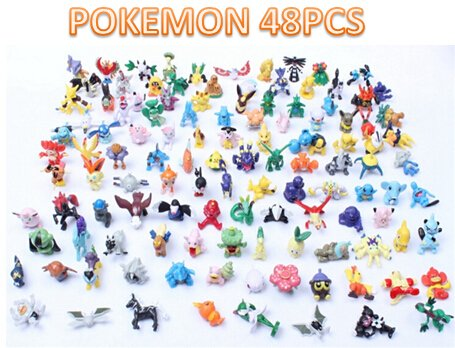 Price comparison product image Pokemon Mini Action Figures Set: 48 PC 2-3cm Figurine Set, Pikachu Included Prime Manufacture, Great Bulk Set/ Excellent Gift for Kids