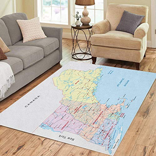 Pinbeam Area Rug State New England Road Map Massachusetts Boston Vermont Home Decor Floor Rug 2' x 3' Carpet