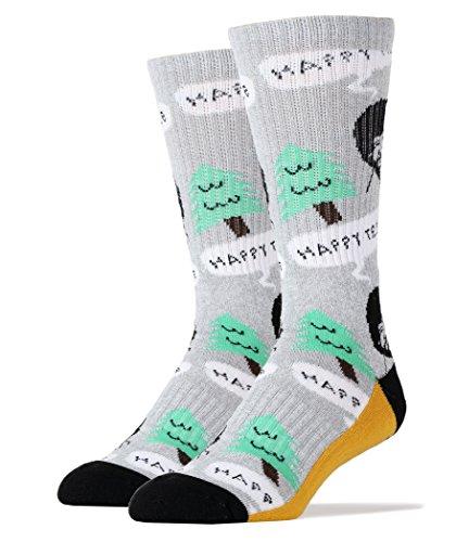 Oooh Yeah Socks Mens Luxury Combed Cotton Athletic Funny (HAPPY TREE gray)