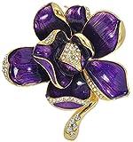 Gyn&Joy Purple Painted Enamel Crystal Rhinestone Blooming Beautiful Rose Flower Brooch Pin BZ080