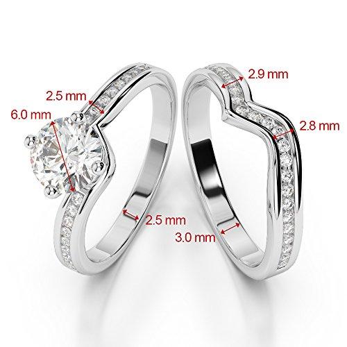 G-H/VS 1CT Coupe ronde sertie de diamants Émeraude et diamants blancs et bague de fiançailles en platine 950Agdr-2005