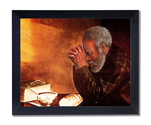 African American Black Man Praying At Dinner Table Daily Bread Religious Picture Black Framed Art Print