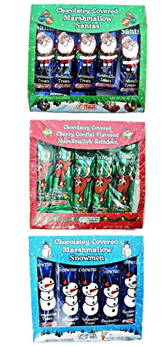 Christmas Chocolate Candy Stocking Stuffers Candy: Snowman, Santa, Reindeer (Pack of 3)
