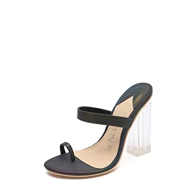 MACKIN J 614-1 Women's Clear Heels Slip On Mules Toe Ring Chunky Heel Sandals | Heeled Sandals