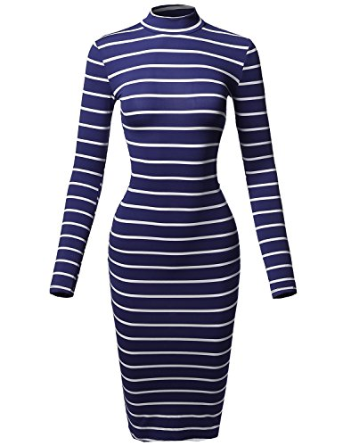 Blue Striped Sweater (Made by Emma Casual Striped Long Sleeve Mock Neck Midi Dress Navy White M)