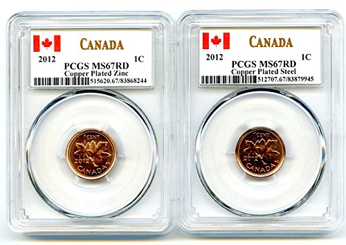 CA 2012 Royal Canadian Mint Canada TWO COIN COPPER PLATED STEEL AND ZINC SET Last Year Of Issue PCGS MS67