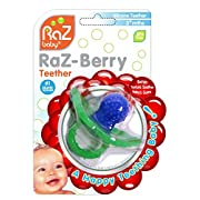 RaZ-Baby RaZ-Berry Silicone Teether / Multi-texture Design / Hands Free Design / Blue