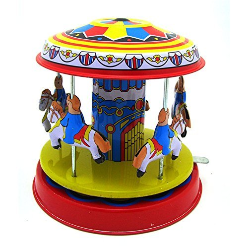 Classic Vintage Clockwork Wind Up Merry-Go-Round Children Kids Tin Toys With ()
