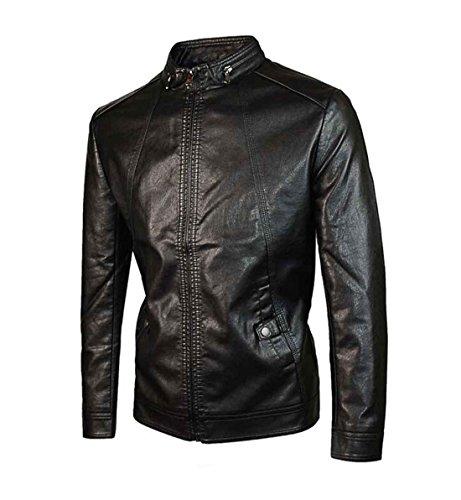 Solid Casual hombres PJK 2xl Standard black con cuero Chaqueta cremallera para de zfOfBp