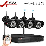 ANRAN 4CH 1080P 2.4G WIFI NVR Wireless Security Camera System with 4 Outdoor/Indoor Night Vision 1080 IP Security CCTV Cameras Plug and Play No Hard Drive