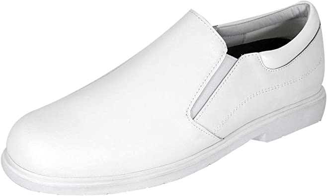 Wide Width Leather Slip-On Casual Shoes