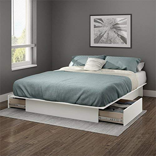 (South Shore Gramercy Full/Queen Platform Bed (54/60'') with drawers, Pure White)