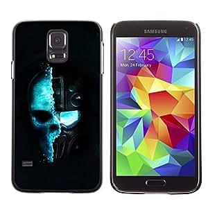 PC/Aluminum Funda Carcasa protectora para Samsung Galaxy S5 SM-G900 Blue Techno Techno Skull / JUSTGO PHONE PROTECTOR