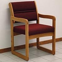 Wooden Mallet Sled-Base Valley Guest Chair, Medium Oak, Cabernet Burgundy