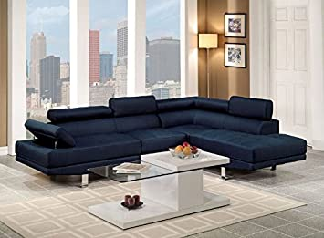 Poundex Navy Blue Linen Fabric Modern Sectional Sofa, Red
