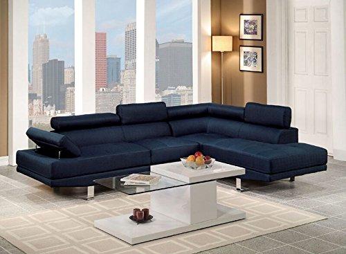 Amazon.com: poundex Color Azul Marino tela de lino. Moderno ...