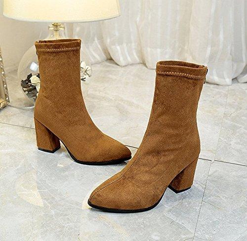 AGECC Damen Stiefel Bequeme Schöne Haltbare Weibliche Stiefel Kanister Elastisch Scharf Grün Und High Heel Schuhe