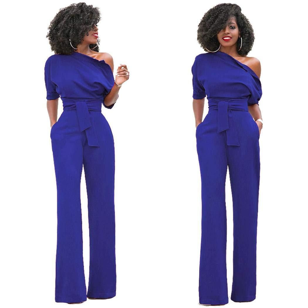 beruna Women Casual Oblique Collar Short Sleeve Solid High Waist Jumpsuits Jumpsuits /& Rompers
