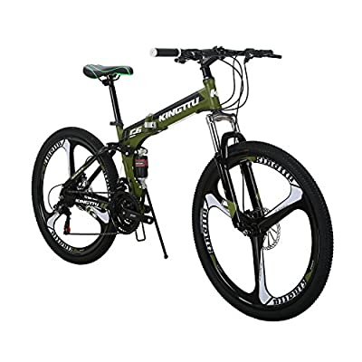 Kingttu EURG6 Mountain Bike 26 Inches 3 Spoke Wheels Dual Suspension Folding Bike 21 Speed MTB Bicycle