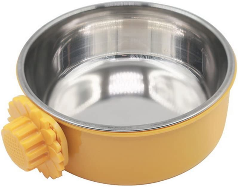 DEVILMAYCARE Pet Feeder Dog Bowl Stainless Steel Food Hanging Bowl Crates Cages Dog Parrot Bird Pet Drink Water Bowl Dish Accessory (S: 4.5''x2'', Yellow)