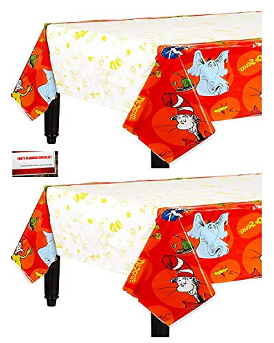 Dr Seuss Table (Dr Seuss Birthday Party Supplies Plastic Table Cover (2 Pack), 54 x 96 Inches (Plus Party Planning Checklist by Mikes Super)