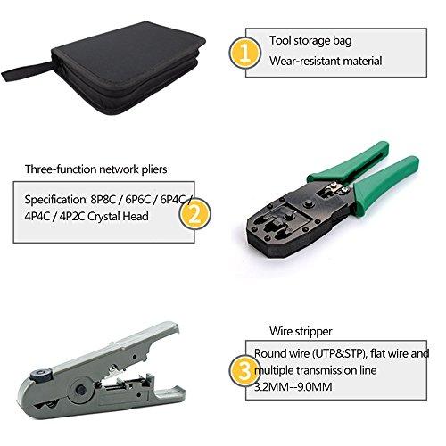 Bestmotoring Cable Repair Maintenance Tool Kit Set 11 in 1 Cable Crimper Cat.6 Three-Purpose Network Crimping Tool, 8P+6P+4P Three-Plier Crimping Tool.RJ45 RJ11 Cat5 Cat6 Cable Tester,RJ45/12/11 by Bestmotoring (Image #3)
