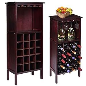 Gracelov New Wood Wine Cabinet Bottle Holder Storage Kitchen Home Bar Glass Rack (Wine Cabine  sc 1 st  Amazon.com & Amazon.com: Gracelov New Wood Wine Cabinet Bottle Holder Storage ...