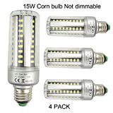 lagpousi 4-Pack 15W E26/E27 60 LED 5736 SMD LED Corn Bulb,Replacement ...
