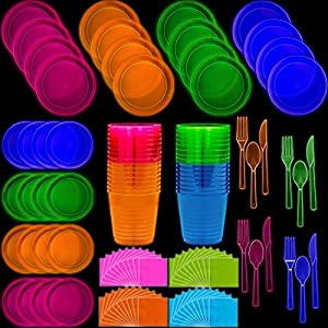 Neon Disposable Party Supplies Set, 2 Size Plates, Tumbler Cups, Napkins, Cutlery | Glows Under Black Light or UV - Pink, Green, Blue, Orange | For Birthday, Clubs, 80s Festivals