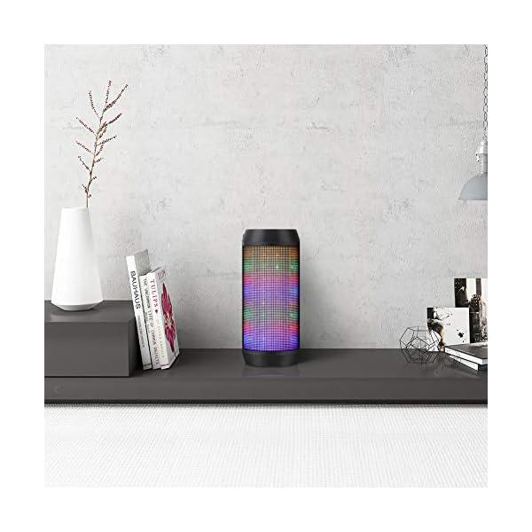 Enceinte Bluetooth Portable Lumineuse Haut-Parleur Bluetooth sans Fil avec LED Lumière Radio FM Fonction TF Carte TEL ELEHOT 7