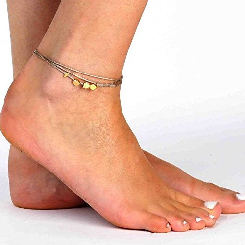 Handmade Beige Anklet For Women Set With 3 Gold Plated Beads By Galis Jewelry - Black Ankle Bracelet For Women - Beaded Anklet