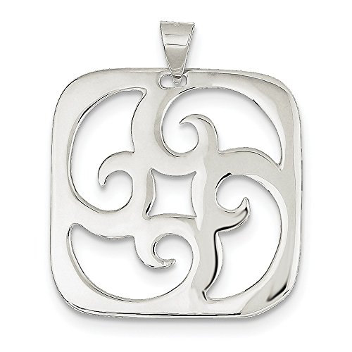925 Sterling Silver Square Swirl Charm Pendant ()