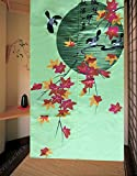 LifEast Japanese Tapestry Door Curtain Red Maple Top of Tree Autumn Style Noren Curtains Doorway Decor (E)