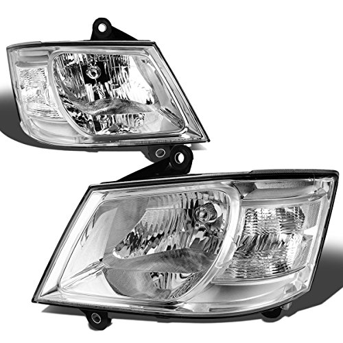For Grand Caravan 5th Gen 3.3-4.0L 4-Dr Minivan Pair of Chrome Housing Clear Corner Headlight