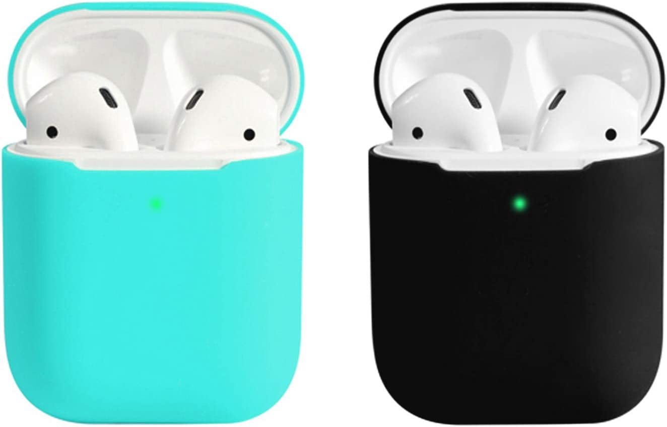 Coffea AirPods Case, 0.8mm Ultra Thin Soft Cover Skin Silicone Case for Apple AirPods 2 & 1 [Front LED Visible] (Mint Green+Black)