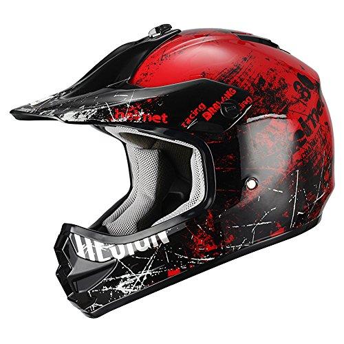 Triangle Motorcycle Helmets Youth Off Road Sport ATV Motocross Dirt Bike [DOT] Red (Medium)