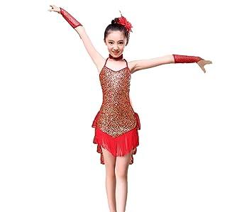 ZYLL Concorso per la Danza Latina per Bambini Costumi per Bambini Paillettes Abito da Ballo Latino Costume da Ballo Concorso Rosso Blu