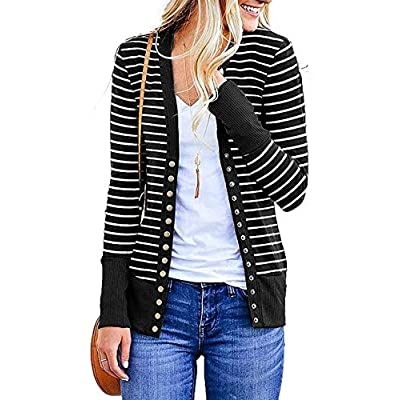 Cowear Women's S-3XL Solid Button Front Knitwears Long Sleeve Casual Cardigans at Women's Clothing store