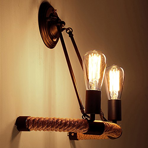 BAYCHEER HL371782 Industrial Vintage Retro style Rope Lined Suspension Pendant wall-sconces Wall Lamp Wall Light in Country Style with 2 lights Two Light Suspension Pendant