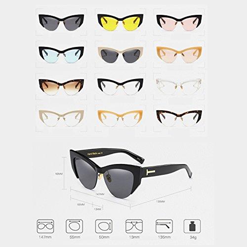 Half Eye soleil pour de lunettes C13 Rimmed femmes Retro Lunettes Vintage Cateye Fuyingda Cat xzqTn16n