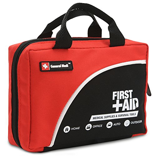First Aid Kit-160 Piece Professional for Medical Emergency - Includes Emergency Blanket, Bandage, Scissors for Home, Car, Camping, Office, Boat, and Traveling (Aid Professional First)