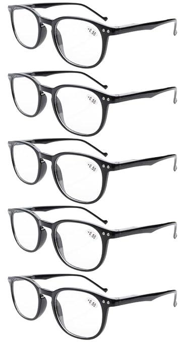 0de44fea4fa Eyekepper 5-Pack Spring Hinges 80 s Classic Reading Glasses Black +2.50