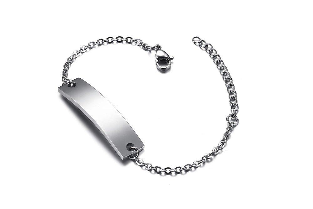Personalized Bar Engraved Custom Free Engraving Medical Alert ID Bracelet for Women Girl,Adjustable by Mealguet Jewlery (Image #3)