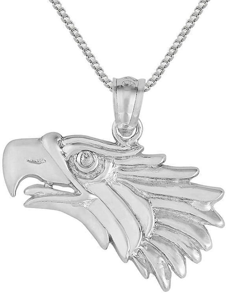 "Charm 18/"" Italian Box Chain Sterling Silver Eagle Pendant"