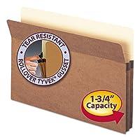 """Bolsillo de archivo de Smead, lengüeta de corte recto, expansión de 1-3 /4 """", tamaño legal, cuerda roja, 25 por caja (74214)"""